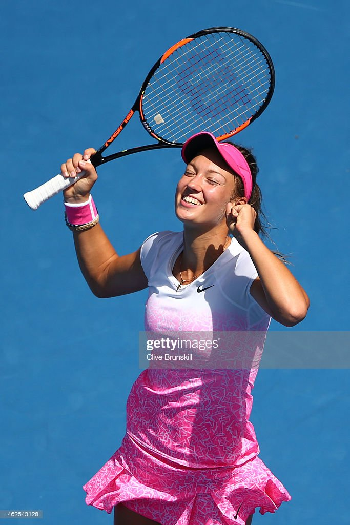 Tereza Mihalikova of Slovakia celebrates winning her Junior Girls' Singles Final against Katie Swan of Great Britain during the Australian Open 2015 Junior Championships at Melbourne Park on January 31, 2015 in Melbourne, Australia.