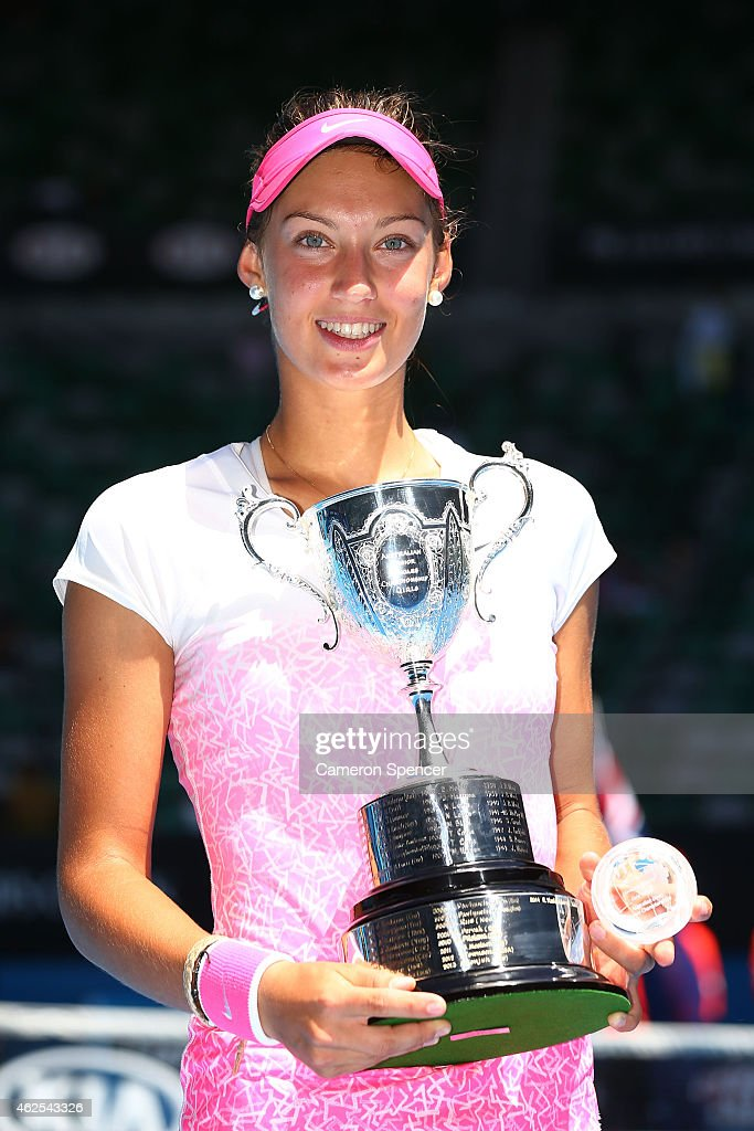 Tereza Mihalikova of Slovakia holds the winners trophy after winning her Junior Girls' Singles Final against Katie Swan of Great Britain during the Australian Open 2015 Junior Championships at Melbourne Park on January 31, 2015 in Melbourne, Australia.