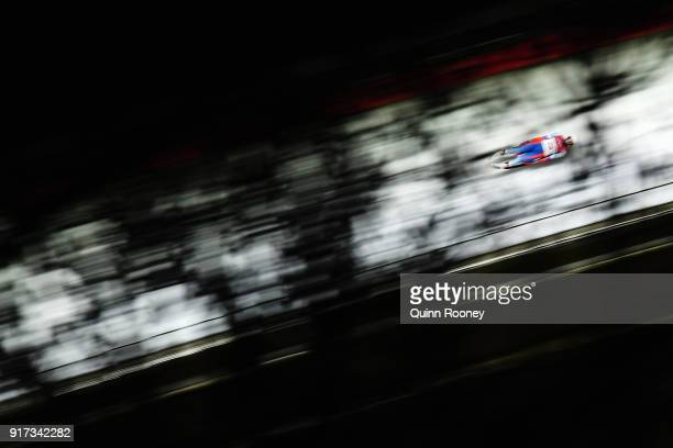 Tereza Noskova of the Czech Republic during the Women's Singles Luge run 2 at Olympic Sliding Centre on February 12, 2018 in Pyeongchang-gun, South...