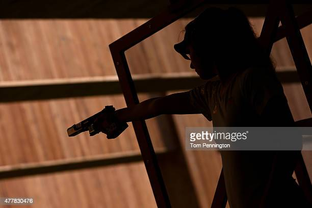 Tereza Pribanova of Czech Republic shoots during the Women's Pistol Shooting 25m Rapid on day eight of the Baku 2015 European Games at the Baku...