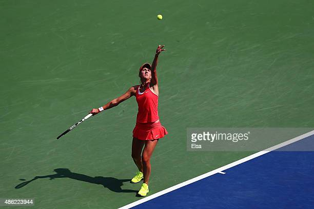 Tereza Smitkova of Czech Republic serves to Madison Keys of the United States during their Women's Singles Second Round match on Day Three of the...