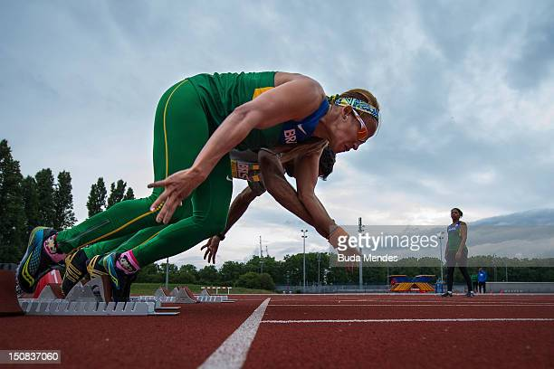 Terezinha Guilhermina warms up during a training session of the Brazilian Paralympic team of Track and Field at River Bank Arena on August 27 2012 in...