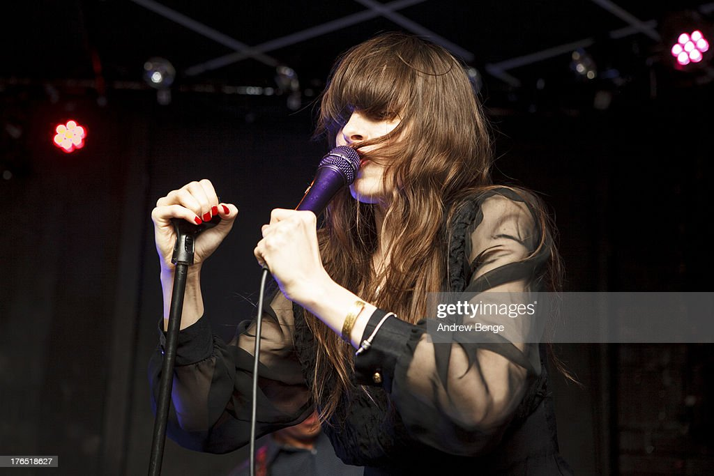 Teri Gender Bender of Bosnian Rainbows performs on stage at Brudenell Social Club on August 14, 2013 in Leeds, England.