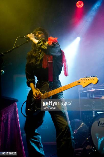 Teri Gender Bender of Le Butcherettes performs on stage at Sala Apolo on February 20 2018 in Barcelona Spain