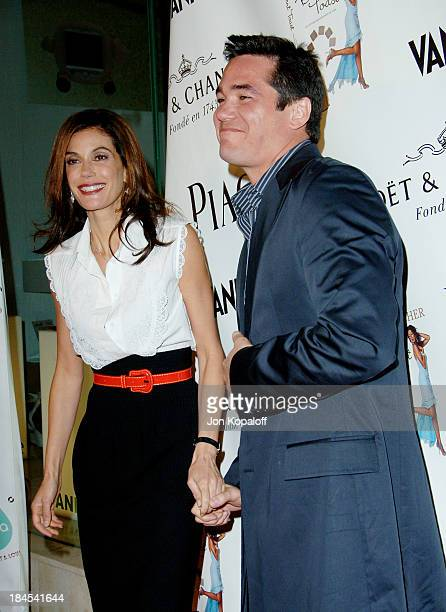 Teri Hatcher and Dean Cain during Teri Hatcher Party for Her Book 'Burnt Toast' Arrivals at AQUA Restaurant in Beverly Hills California United States