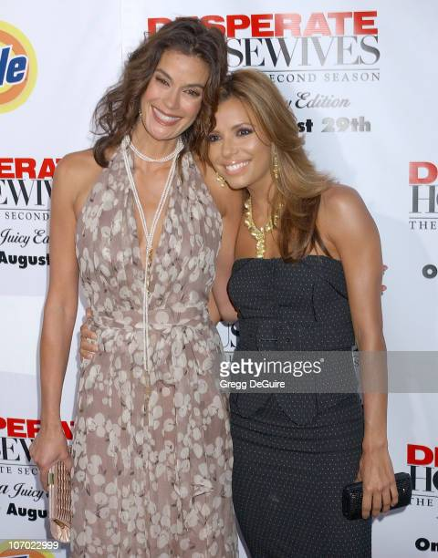 Teri Hatcher and Eva Longoria during 'Desperate Housewives Season 2 Extra Juicy Edition' DVD Launch Event Arrivals at 'Wisteria Lane' Universal...