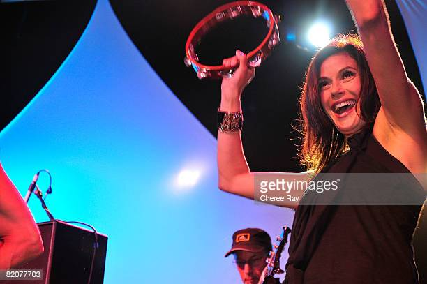 Teri Hatcher performs at the 2nd Annual Band From TV Night at the Flyers Baseball Game in Fullerton on July 26 2008 California