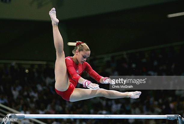Terin Humphrey of the USA competes in the women's artistic gymnastics uneven bar finals on August 22 2004 during the Athens 2004 Summer Olympic Games...