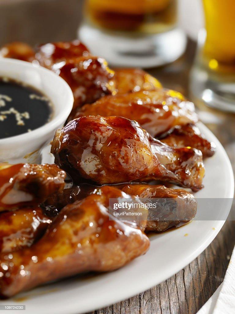 Teriyaki Chicken Wings and Beer : Stock Photo