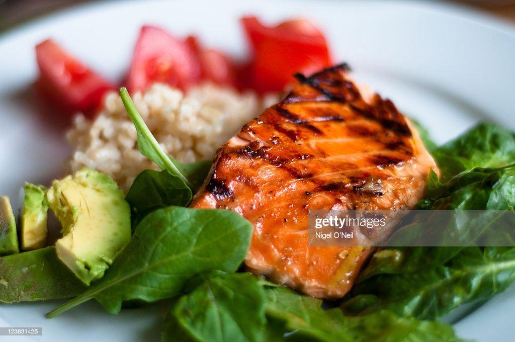 BBQ teriyaki salmon : Bildbanksbilder