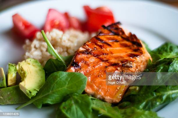 bbq teriyaki salmon - 鮭料理 ストックフォトと画像