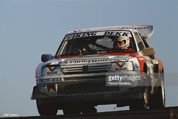 Terje Schie of Norway drives the Peugeot 205 T16E2 during the Motaquip British Rallycross Grand Prix on 3rd December 1988 at the Brands Hatch circuit...