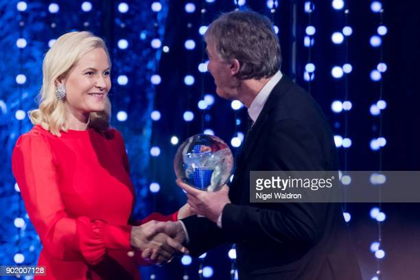 Terje Vag receives the award from Princess Mette Marit of Norway during the Sport Gala Awards at Olympic Amphitheater on January 6 2018 in Hamar...