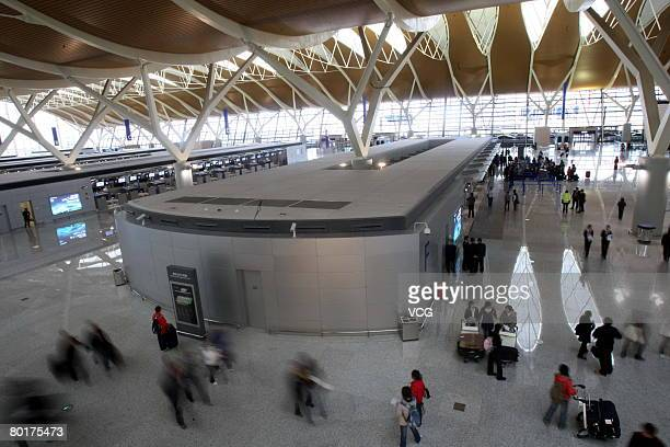 Terminal 2 at Pudong International Airport undergoes a mock operation in Shanghai March 8 2008 About 1300 'tourists' went through the whole...