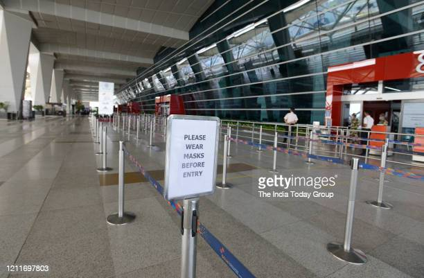 Terminal 3 Indira Gandhi International Airport during government imposed nationwide lockdown due to COVID 19 in New Delhi