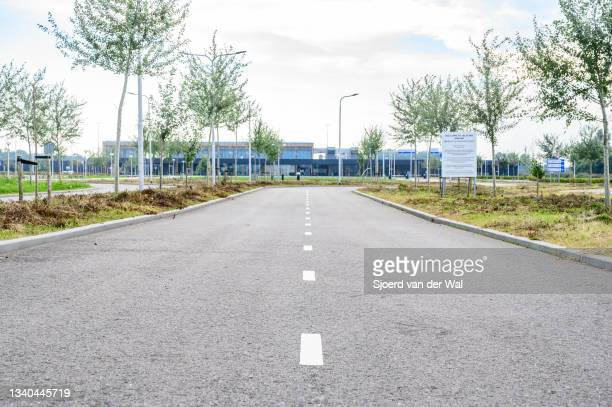 Terminal building for commercial flights at Lelystad Airport on September 14, 2021 in Lelystad, The Netherlands. The new terminal building is part of...