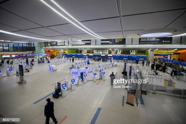 Terminal C at Logan International Airport is nearly empty as winter storm conditions begin to enter the area during Winter Storm Stella on March 14...
