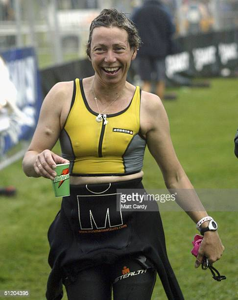 Terminal cancer patient Jane Tomlinson is seen during the Ironman Triathlon at Sherbourne castle on August 22 2004 in Dorset England The event which...