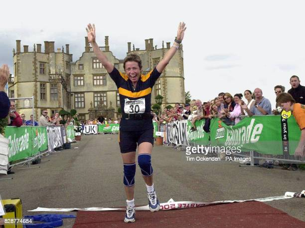 Terminal cancer sufferer Jane Tomlinson from Rothwell, Leeds during the running part of the Gatorade Half Ironman UK Triathlon at Sherbourne Castle...