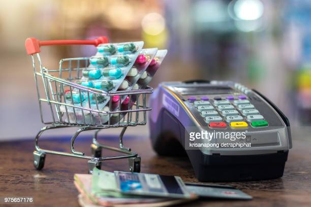 POS terminal, credit card and pill blister packs,Pills with card machine
