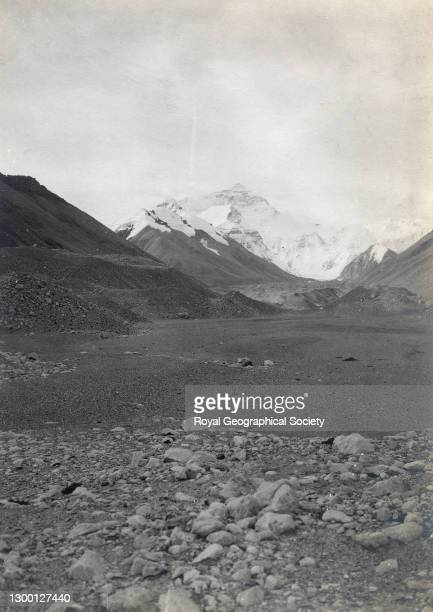 Terminal moraine and snout of Rongbuk glacier; the glacial torrent from East Rongbuk glacier in valley to left - old lake bed in foreground. By C.K....