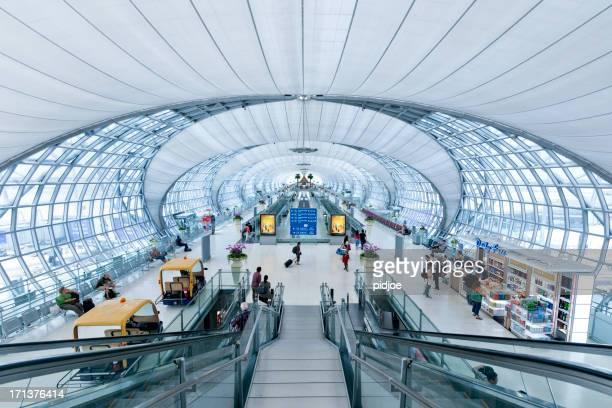 terminal of suvarnabhumi airport bangkok thailand - suvarnabhumi airport stock pictures, royalty-free photos & images