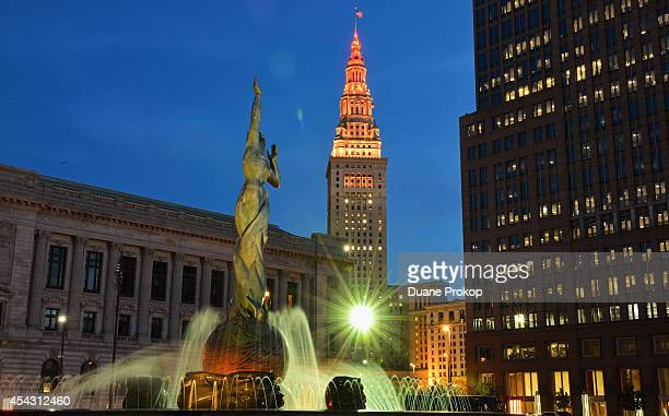 Terminal Tower lit with orange, red and yellow in support of Stand Up To Cancer on August 28, 2014 in Cleveland, United States.