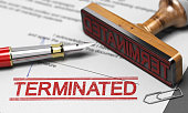 Termination of contract agreement. Word Terminated printed on a document.