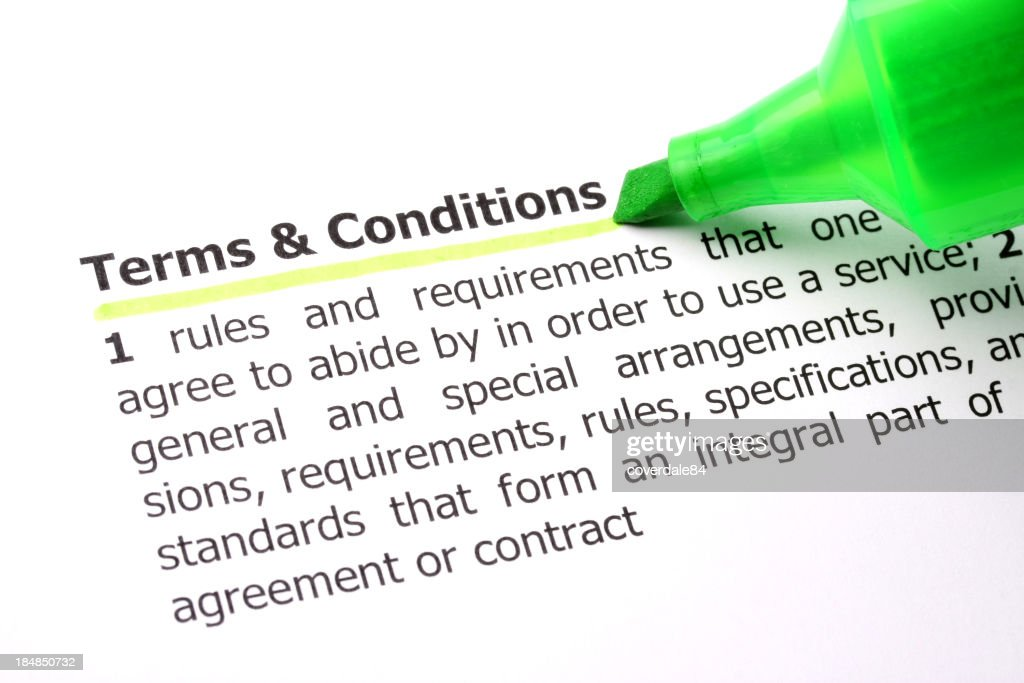 Terms and Conditions : Stock Photo