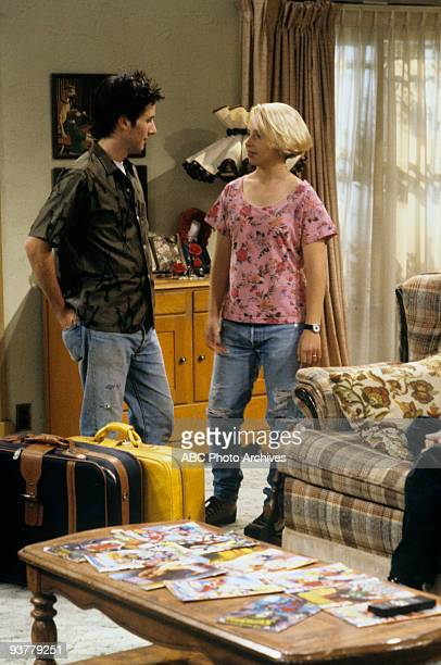 ROSEANNE 'Terms of Estrangement Part 1' Season Five 9/15/92 Glenn Quinn Lecy Goranson on the ABC Television Network comedy 'Roseanne' Becky is upset...