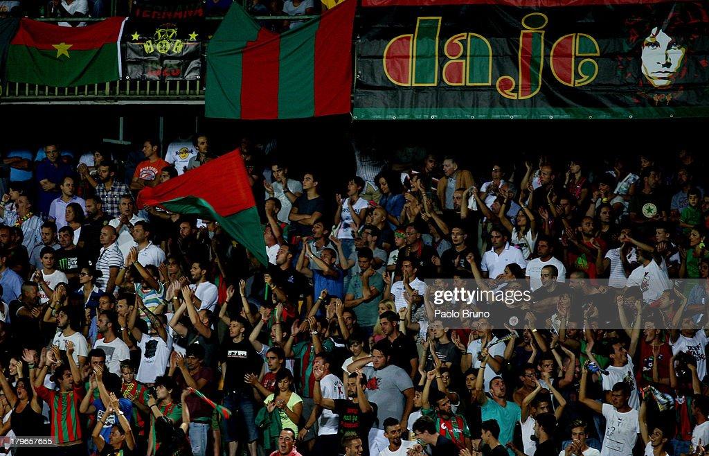 Ternana Calcio fans support their team during the Serie B match between Ternana Calcio and Carpi FC at Stadio Libero Liberati on August 24, 2013 in Terni, Italy.