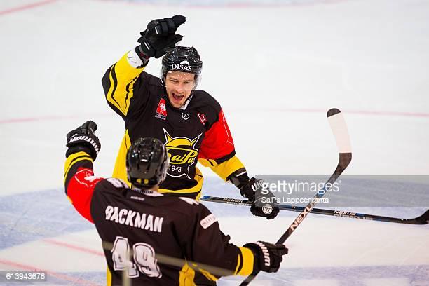 Tero Koskiranta of Lappeenranta celebrates first goal during the Champions Hockey League Round of 32 match between SaiPa Lappeenranta and Tappara...
