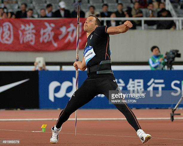 Tero Pitkamaki of Finland competes in the Men's Javelin event at the Diamond League athletics meeting in Shanghai on May 18 2014 AFP PHOTO / MARK...
