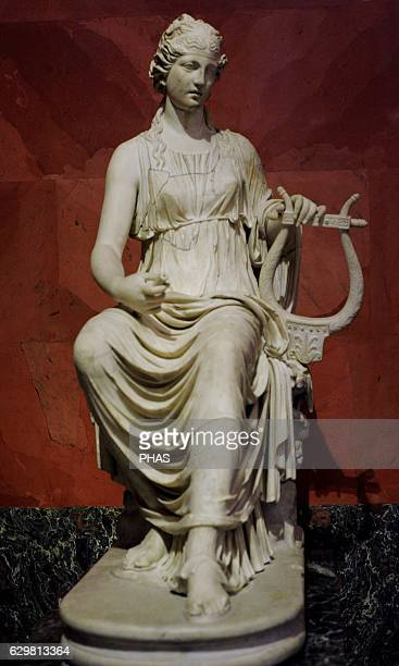 Terpsichore muse of dance Roman work after the Greek models of the 3rd2nd century BC Marble Tivoli Italy The State Hermitage Museum Saint Petersburg...