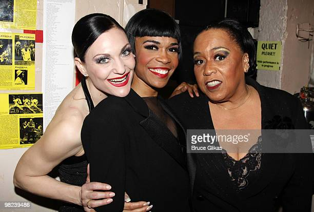 Terra C MacLeod as 'Velma Kelly' Michelle Williams as 'Roxie Hart' and Roz Ryan as 'Mama Morton' pose backstage at the musical 'Chicago' on Broadway...
