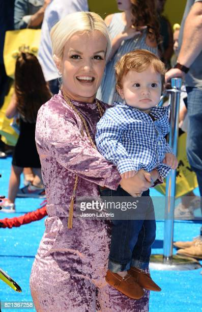 Terra Jole and son Grayson Gnoffo attend the premiere of 'The Emoji Movie' at Regency Village Theatre on July 23 2017 in Westwood California