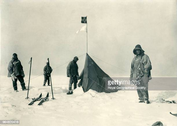 Scott's party at the South Pole with AmundsenÆs tent in the background From left to right Scott Oates Wilson Evans Antarctica 18th January 1912...