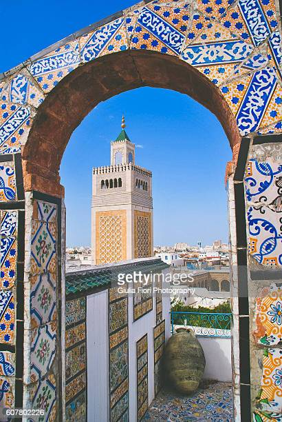 terrace covered in mosaics in tunis - tunis stock pictures, royalty-free photos & images