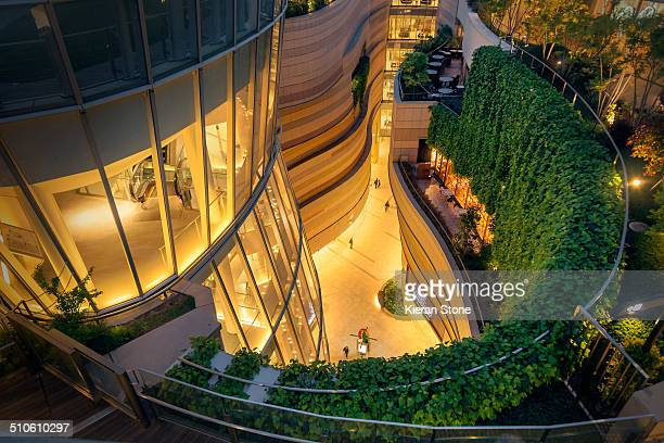 Terrace gardens, Namba Parks shopping mall at dusk, Osaka, Japan
