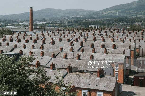 terrace houses in belfast city, northern ireland - northern ireland stock pictures, royalty-free photos & images