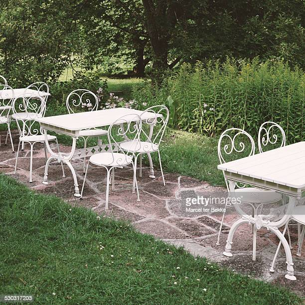 terrace in a summer garden - limestone pavement stock pictures, royalty-free photos & images