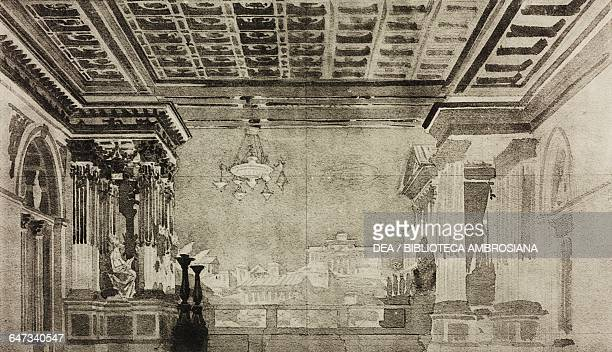 Terrace in the Domus Aurea with Rome in the background sketch for Part II Scene VII of the ballet Attea by Costantino Dall'Argine Season 1863 from...