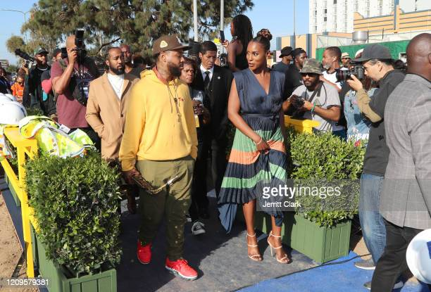 Terrace Martin and Issa Rae attend Destination Crenshaw Groundbreaking Event with over 2000 community residents including Emmy Nominated Actress and...