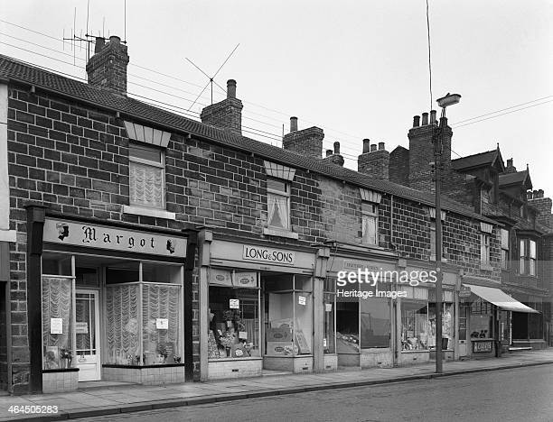 A terrace of late Vistorian shops in Bank Street Mexborough South Yorkshire 1963 A shopping street typical of a South Yorkshire mining town The shops...