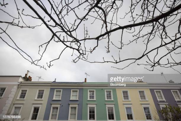 Terrace of residential houses in the Notting Hill district of London, U.K., on Tuesday, Nov. 24, 2020. Asking prices for U.K. Homes slipped this...