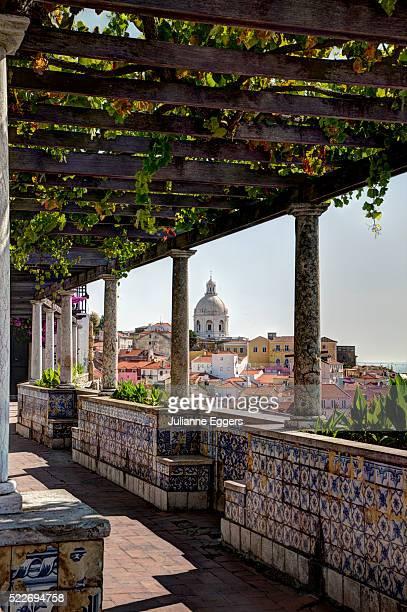terrace of the miradouro de santa luzia - alfama stock photos and pictures