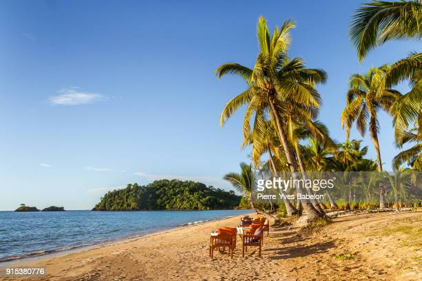 terrace on the tropical beach - pierre yves babelon madagascar stock pictures, royalty-free photos & images