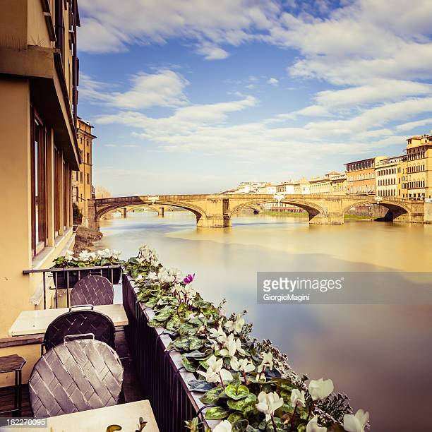 Terrace Over Arno River in Florence, Italy