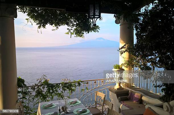 terrace view of the bay of naples and vesuvius - sorrento stock pictures, royalty-free photos & images