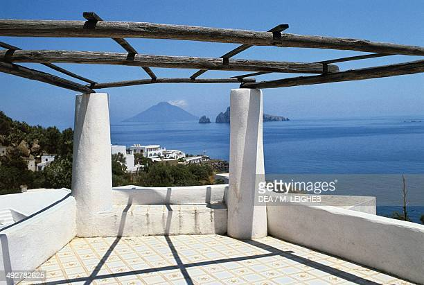 Terrace with a view of Basiluzzo and Stromboli island of Panarea Aeolian Islands Sicily Italy